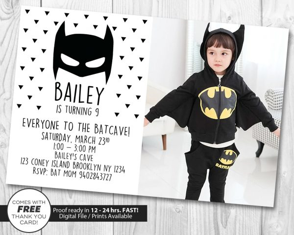 Batman Invitation with Photo