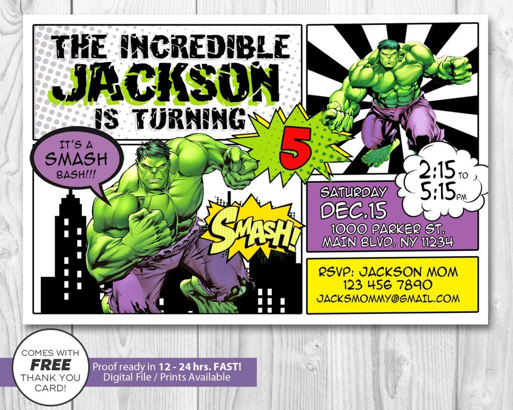Hulk Smash Invitation