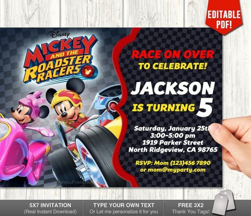 Mickey Mouse Roadster Racer Invitation