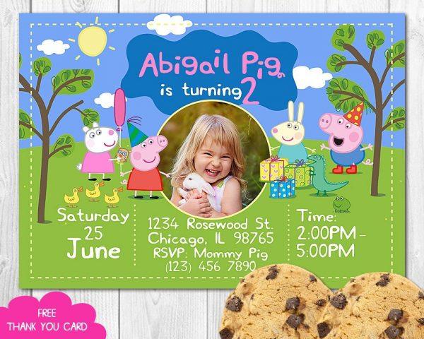 Peppa Pig Invitation for Girls