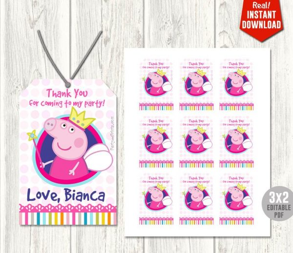 Peppa Pig Thank You Tags