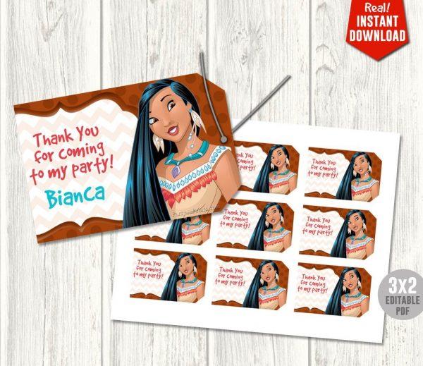 Pocahontas Thank You Tags