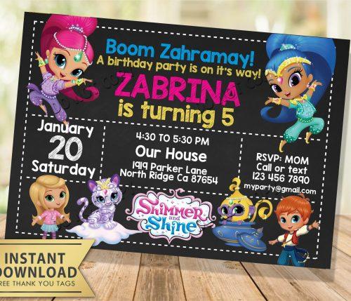 Shimmer and Shine Invitation