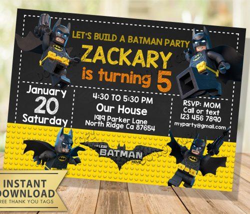 Lego batman invitation