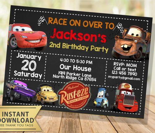 disney cars invitation