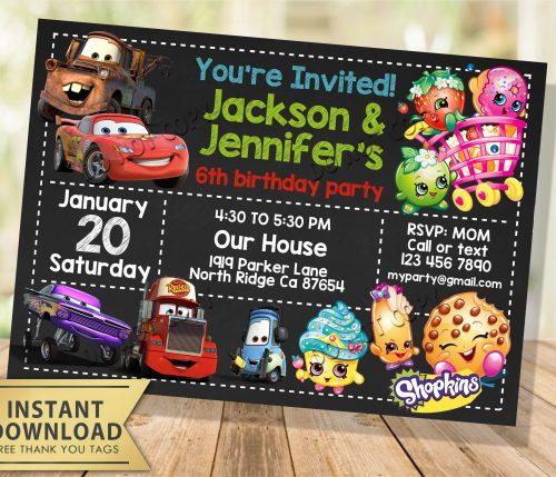 Cars Shopkins Joint Twin Invitation