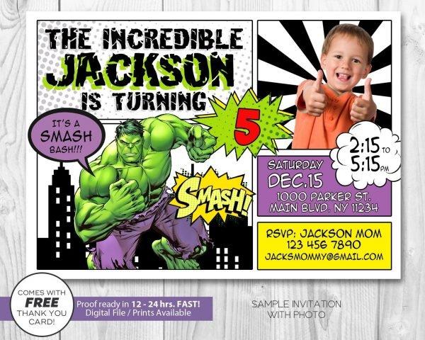 Hulk Smash Invitation with Photo