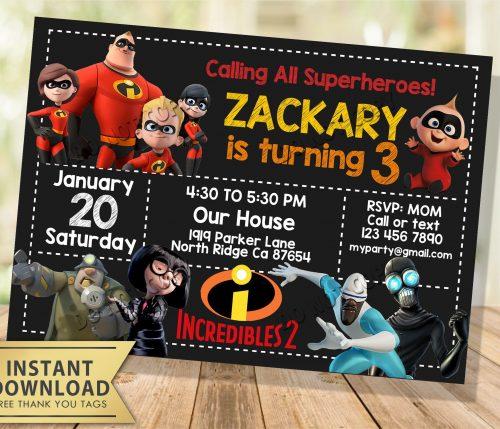 the incredibles invitation