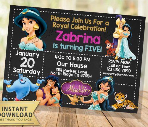 aladdin jasmine invitation