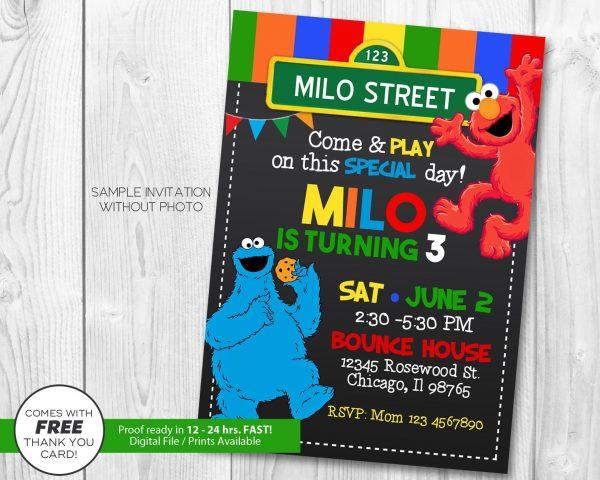 Sesame Street Chalkboard Invitation
