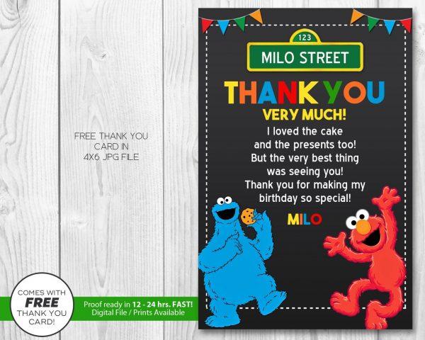 Sesame Street Thank You Card