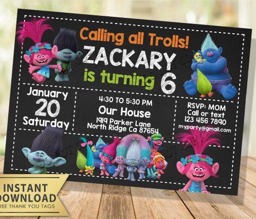Trolls Invitation Chalkboard