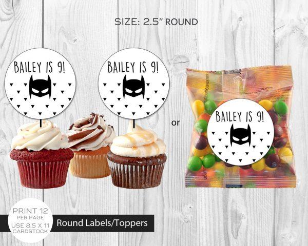 Batman Minimalist Cupcake Topper