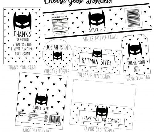 Batman Minimalist Party Printables