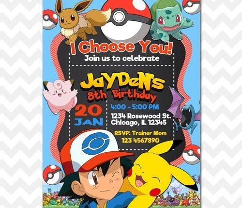 Pokemon Trainer Ash Invitation