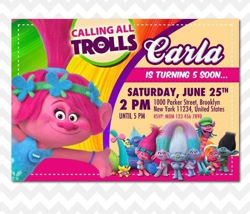 Trolls Poppy Invitation