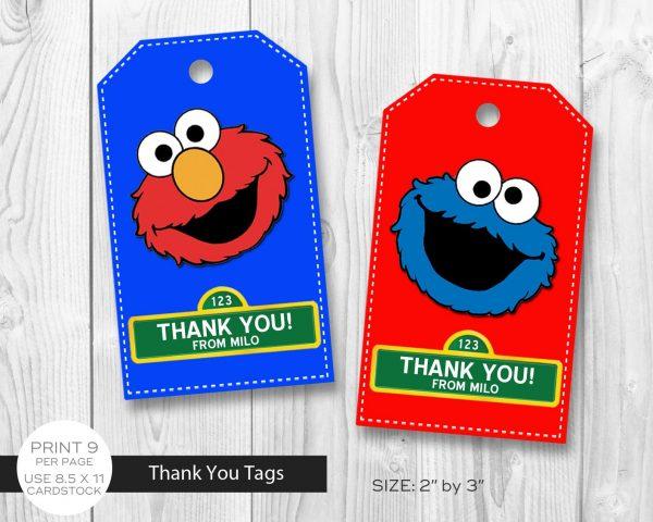 Sesame Street Thank You Tags