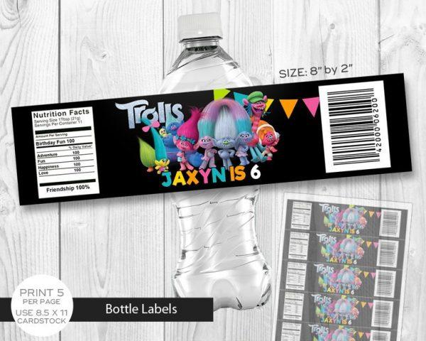 Trolls Water Label