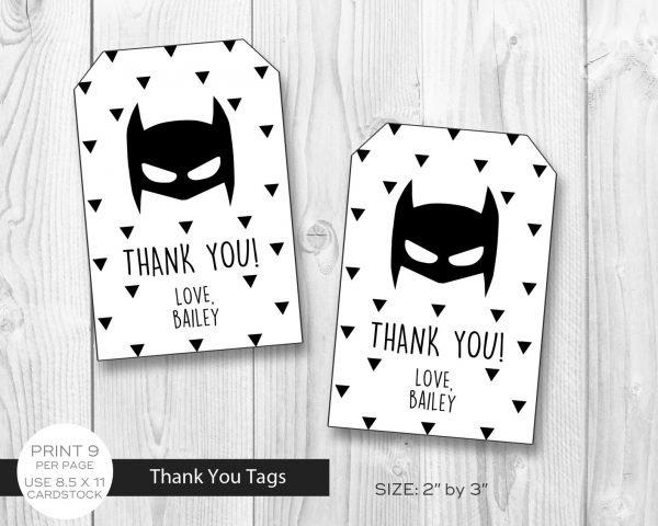 Batman Minimalist Thank You Tags
