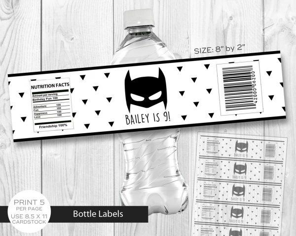 Batman Minimalist Water Labels