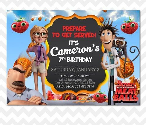 Cloudy with a Chance of Meatballs Invitation