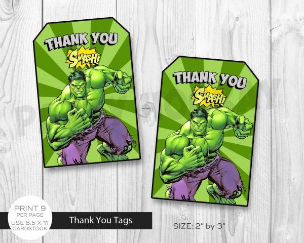 Hulk Thank You Tag