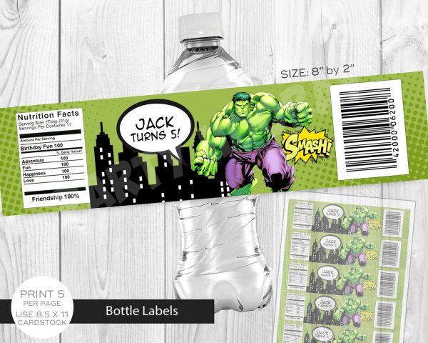 Hulk Water Bottle Label