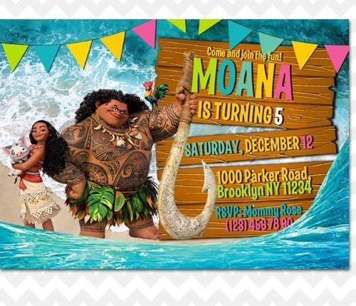 Moana and Maui Invitation
