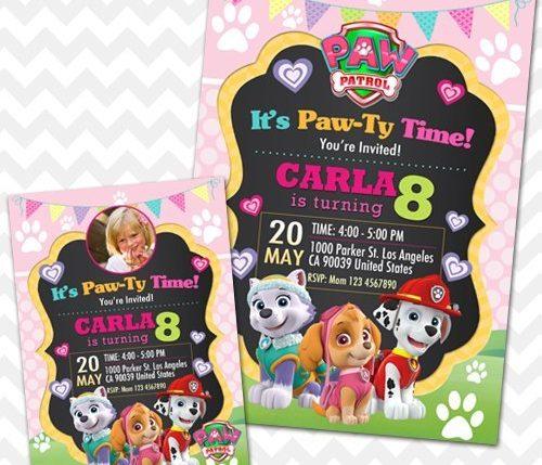 Paw Patrol Girl Invitation