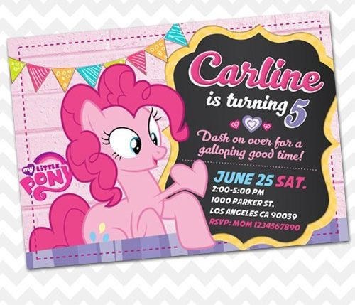 Little Pony Pinkie Pie Invitation
