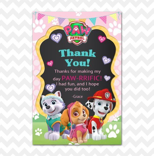 Paw Patrol Girl Thank You Card