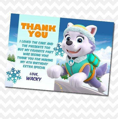 Paw Patrol Everest Thank You Card