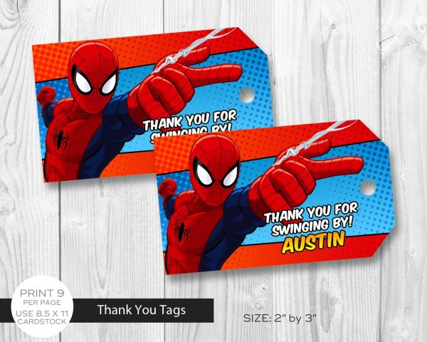 Spiderman Thank You Tags