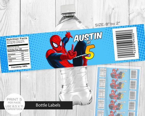 Spiderman Water Labels