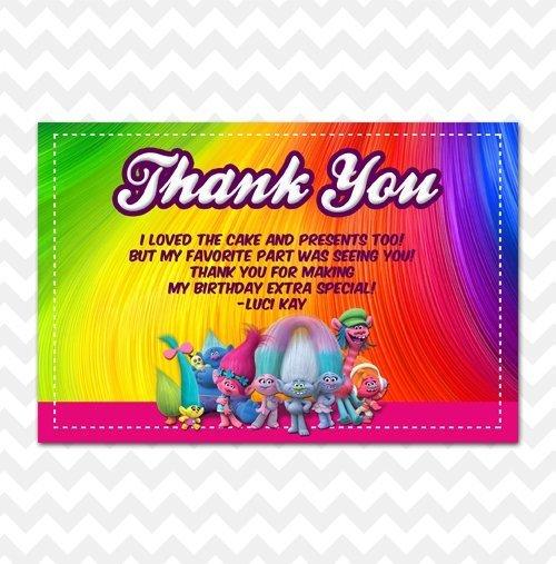 Trolls Rainbow Thank You Card
