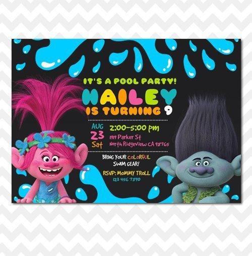 Trolls Pool Party Invitation