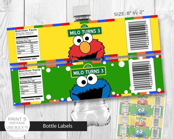 Sesame Street Water Bottle Label
