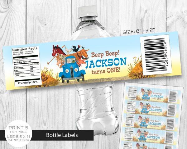 Little Blue Water Bottle Label