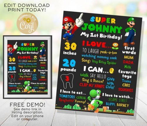 Super Mario Chalkboard Poster