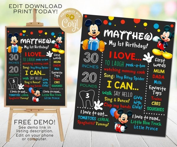 Mickey Mouse Chalkboard Poster