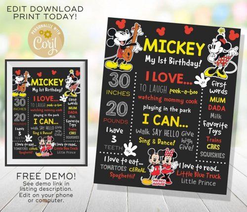 Mickey and Minnie Chalkboard Poster