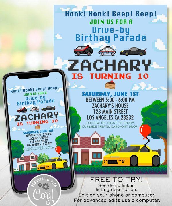 Drive By Parade Birthday Invitation