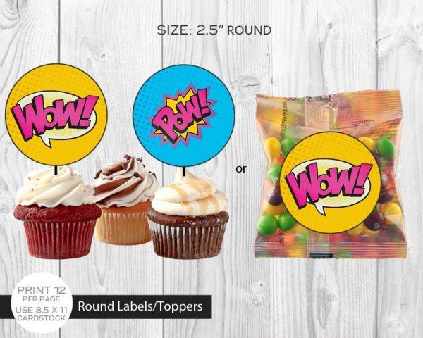 Printable Girl Superhero Chocolate Cupcake Toppers