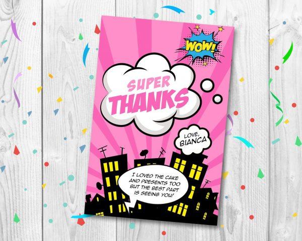 Printable Girl Superhero Thank You Card