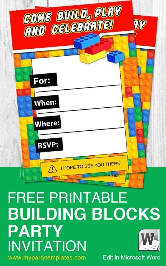 Building Blocks Lego Printable Invitation