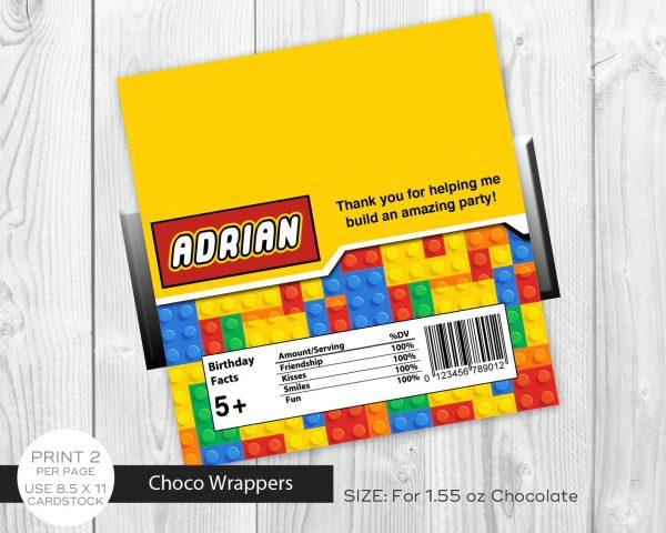 lego building blocks chocolate labels