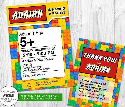 Lego Building Blocks Invitation