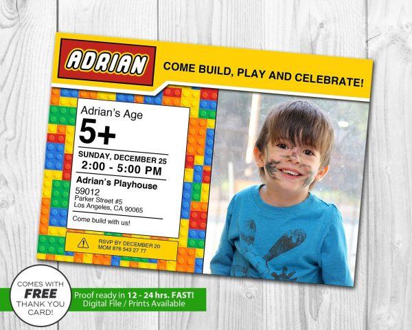 Building Blocks Photo Invitation