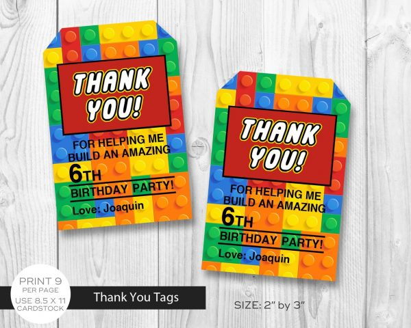 lego building blocks thank you tags