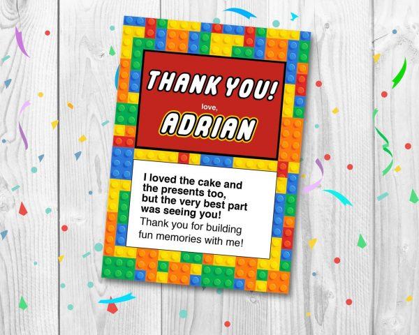 lego building blocks thank you card